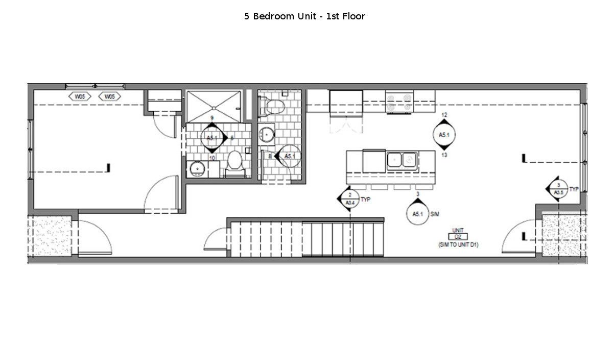 5 Bed Martin Townhouse Floor Plan - 1st Floor